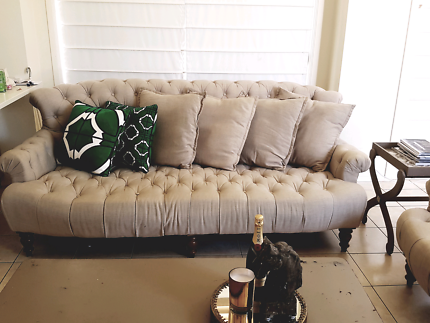 Eureka street linen chesterfield lounge sofa couch set suite