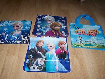 Lot of 4 Disney Frozen Tote Halloween Bag Party Favor Anna Elsa Olaf Kristoff