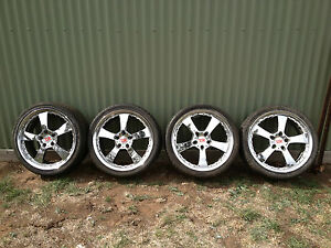 VT-VX-VU-VY-VZ-HOLDEN-HSV-19x8-GEN-CHROME-PLATED-ALLOY-WHEELS-X-4-GOOD-TYRES