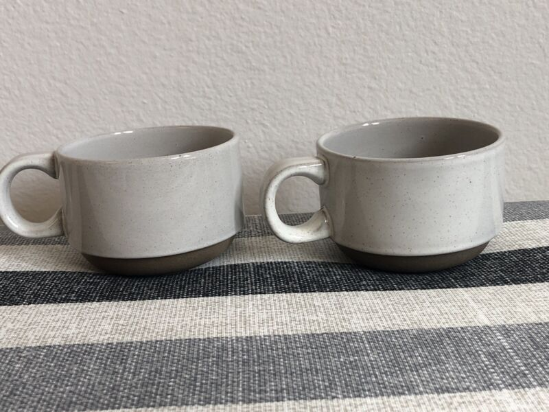 2 MIDWINTER Natural Stoneware Coffee Cups Mugs  Stacking (Wedgwood Group)