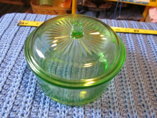 Vintage Hazel Atlas Green Depression Glass Bowl With Lid Nice