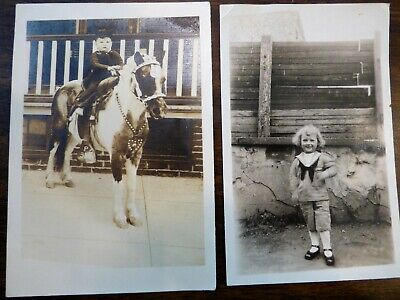 2 Vintage Photographs Child on Pony & Long Haired Boy in Sailor Suit (Childrens Sailor Suits)