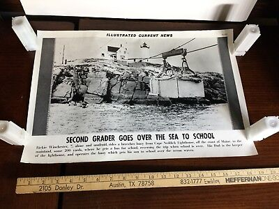 Illustrated Current News Over the Sea to School Lighthouse Maine Winchester