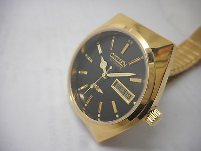 citizen automatic men's gold plated vintage japan made wrist watch run-q8