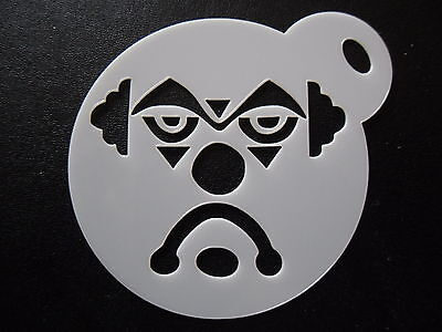 Laser cut small sad clown face design cake, cookie, craft & facepainting stencil
