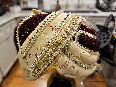 Wedding Pagri Hat Indian Pag Groom Safa Top Hat Turban Sequined Mens 6 3/4 - Groom Hat