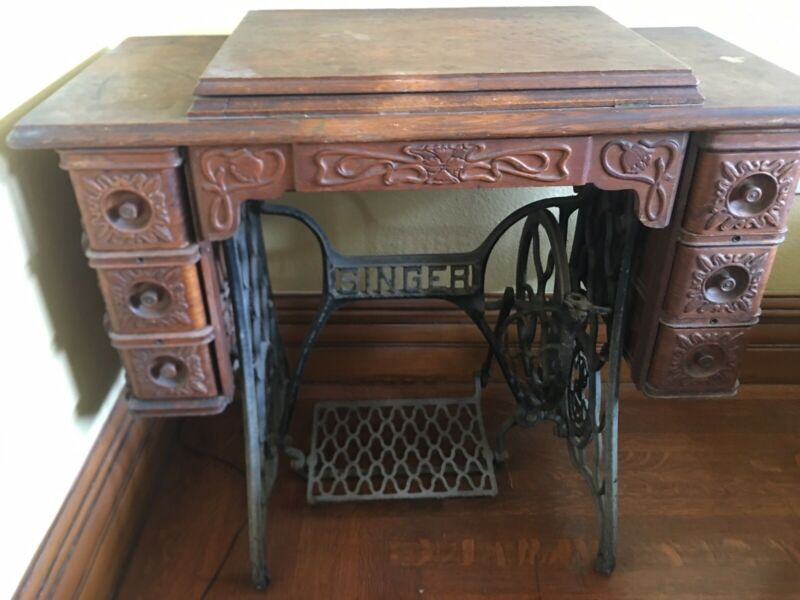 1903 singer Sewing Machine Old Vintage Antique Treadle 6 Oak Drawers Cabinet