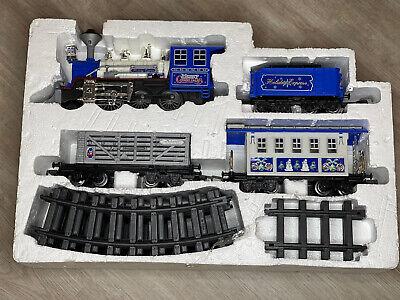 Blue HOLIDAY EXPRESS 4 Car train Set Locomotive Plays Christmas Music, Works