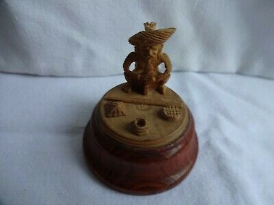 Hand Carved wood netsuke Indian Snake Charmer collectable boxwood figurine