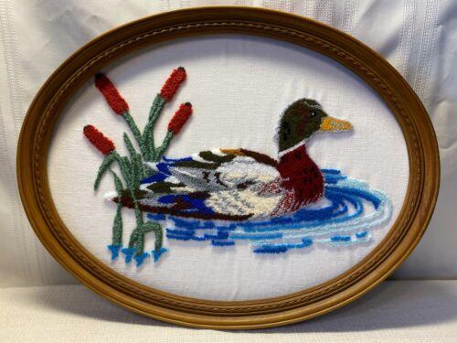 "Oval Framed Mallard & Cat Tails Yarn Punch Needle Art Wall Hanging 17 1/4"" L"