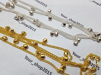 Jingle Bell Armband (2 x New Pair Set of Women's Gold silver plated jingle bell anklet Bracelet )