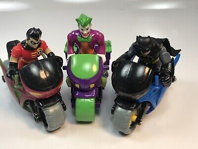 Fisher Price Imaginext Batman, Robin and Joker Figures And Motorcycles Lot BO733