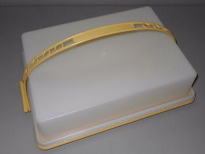 Tupperware Harvest Gold Sheet Cake Carrier Saver Carolier Handle Sheer Lid 622