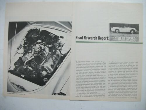 1960 DAIMLER DART SP250 COMPLETE 8 PAGE US MAGAZINE ROAD TEST ARTICLE
