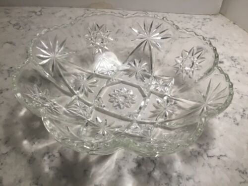 Anchor Hocking Panel Bowl Early American Prescut Glass Star David EAPC