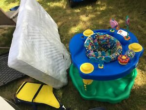 Free Crib mattress and Rubbermaid container with lid