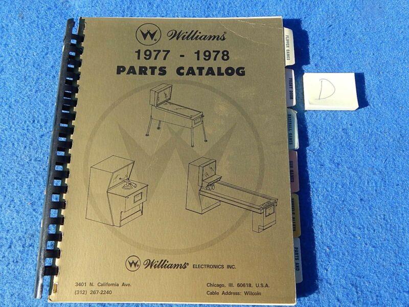 1977-1978 Williams Pinball and Arcade Game Parts Catalog