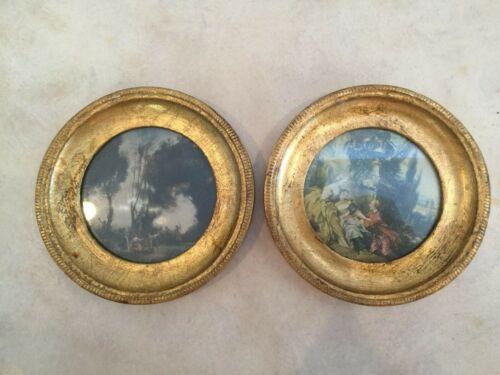 Vintage Florentine Toleware Gilt Wood Framed Print Set French Scenes Hand Made