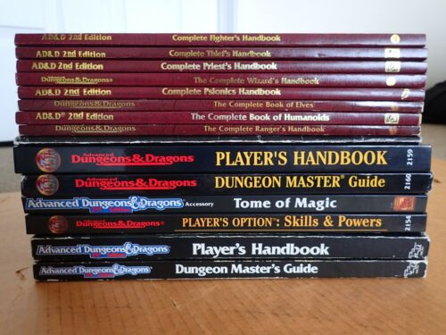 TSR Dungeons Dragons 2e Lot: PH DMG Tome Magic Complete Fighter Thief Ranger Elv