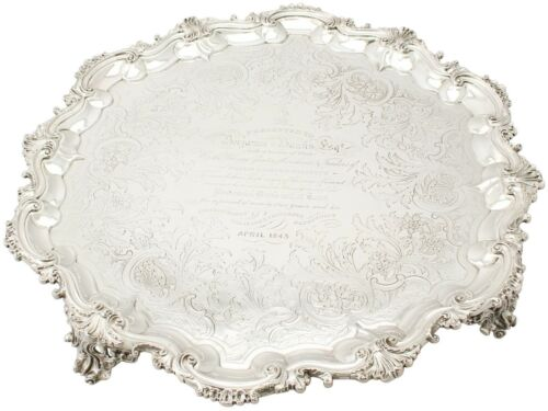 Sterling Silver Salver By William Ker Reid Antique Victorian