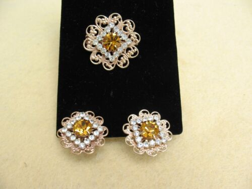 Pre-Owned Fashion Earrings Brooch/Pin Demi Parure Gold Citrine and Clear Tones