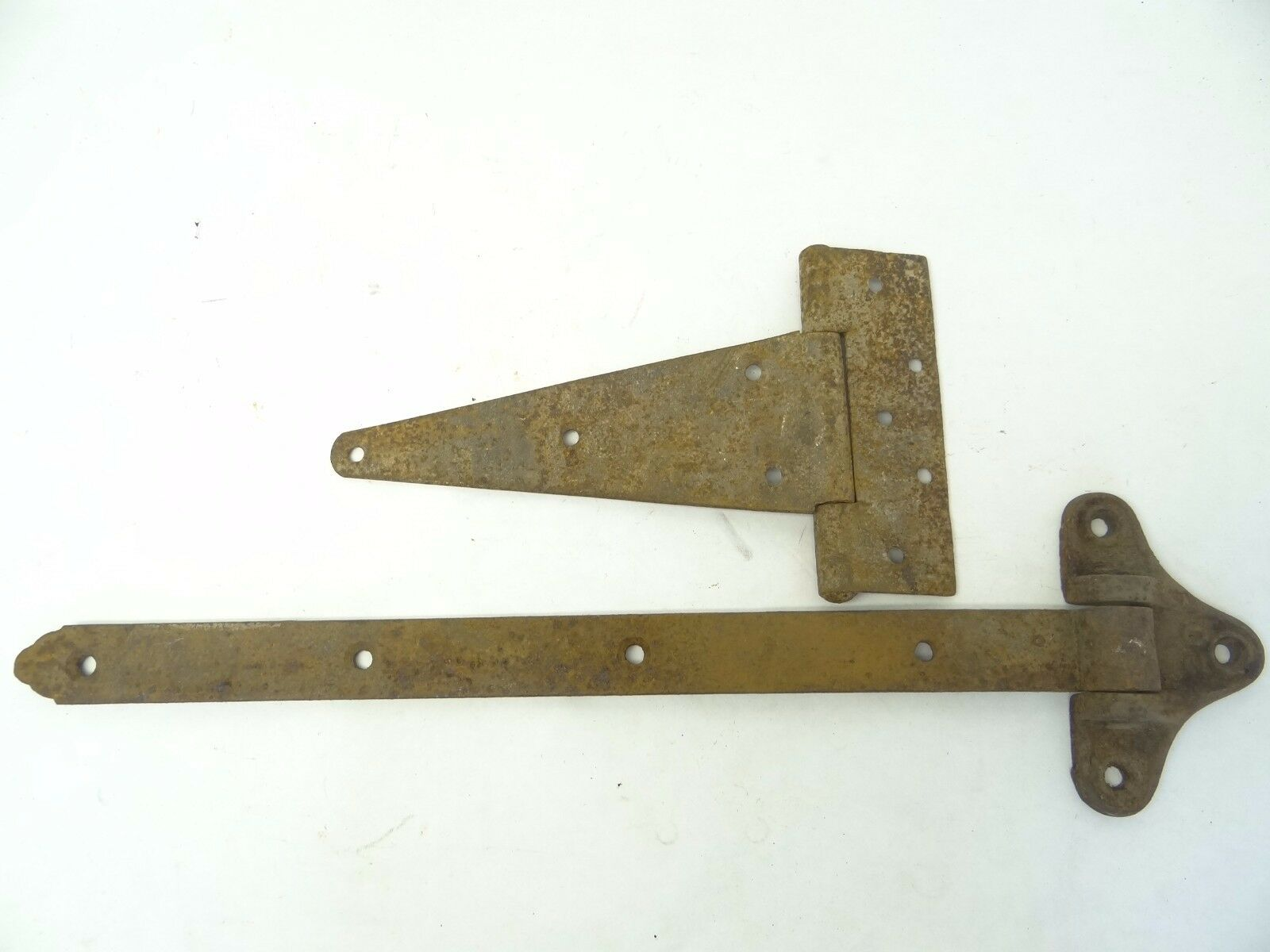 Mixed Lot Two Antique Old Iron Metal Barn Strap Large Door Hinges Parts Hardware