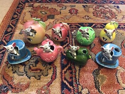Vintage Collection Of 8 1960's Kitsch Mice In Various Fruits Etc