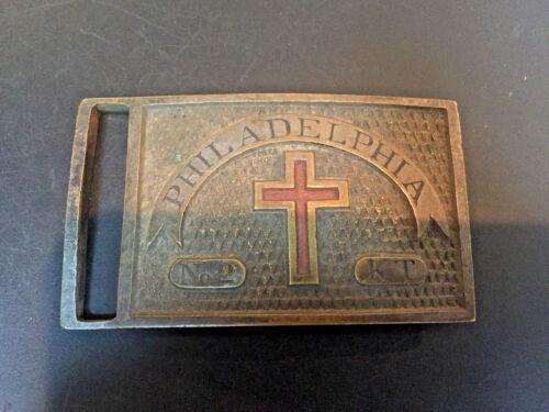 Vintage Knights Templar Brass Cross Belt Buckle ~ Philadelphia No. 2