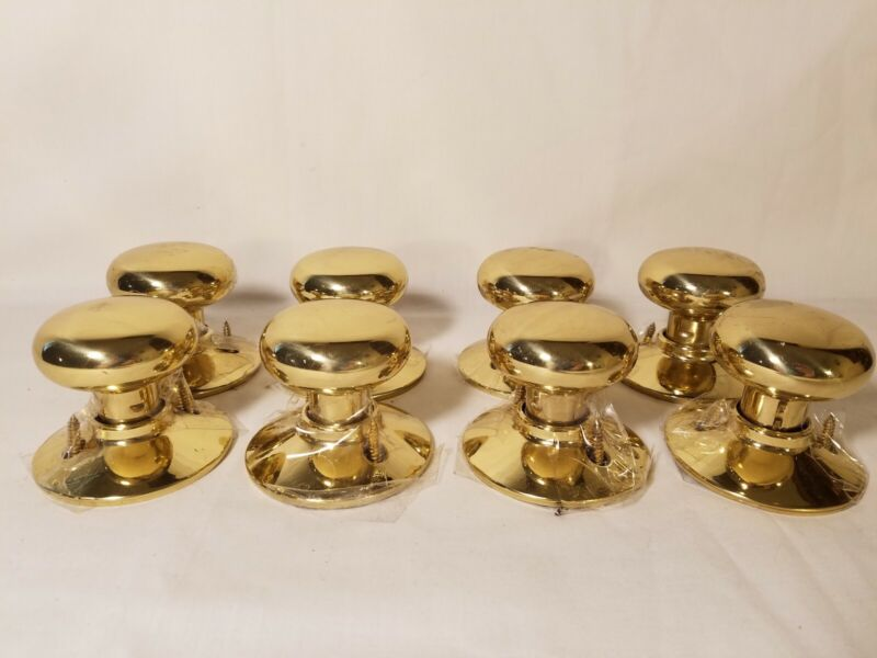 Lot of 8 Vintage Mushroom Brass Door Knobs  with screws
