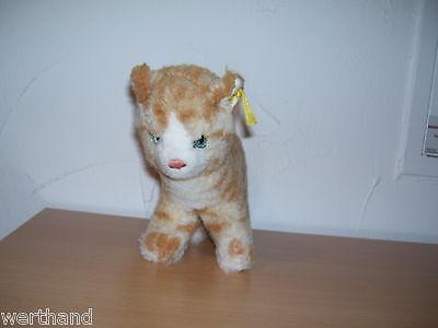 alte Steiff  Katze  mit Knopf im Ohr