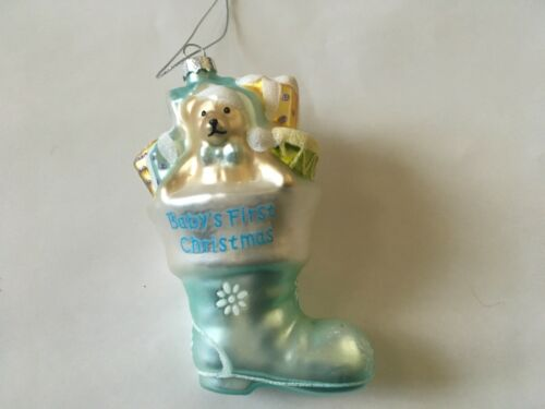 Baby's  First Christmas Ornament Blue Stocking with Bear & Presents
