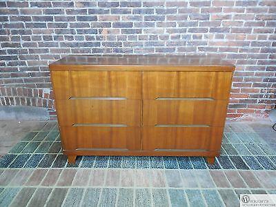 Vintage Mid Century Walnut 6 Drawer Dresser Credenza