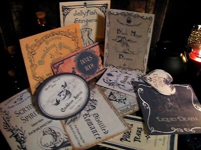 12 Halloween Potion Apothecary Labels Peel&Stick (set#5) Primitive Witch Decor