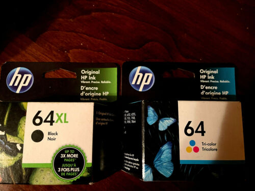 New Genuine HP 64XL Black + 64 Tri Color Combo Factory Boxed Exp Late 2022