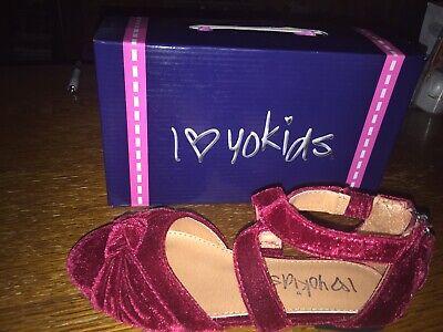 Yokids Shoes (NIB I ♡ YoKids Burgundy Ballet Flats Love Heart Yo Kids Sz 1 Girls Dress)