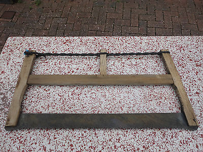 ANTIQUE PRIMITIVE OLD FRENCH CROSS CUT LOGGING SAW TWO MAN LOG BUCK BOW SAW