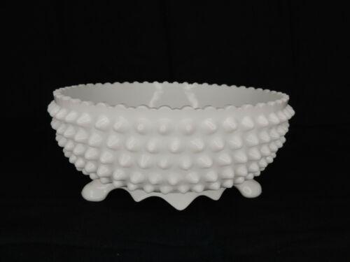 """Vintage Fenton White Milk Glass Hobnail Footed Bowl 8 3/8"""" Diameter"""