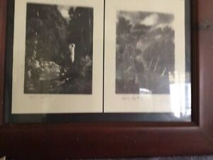 2 Lionel Lindsey prints in dark wooden frame