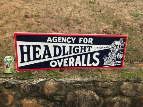 """""""HEADLIGHT OVERALLS"""" LARGE EMBOSSED METAL ADVERTISING SIGN, 36""""x 12"""" MINT (NOS)"""