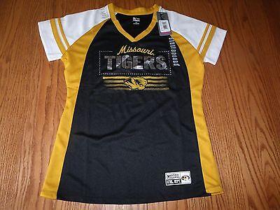 New Womens Ncaa Missouri Tigers V Neck T Shirt Short Sleeved Gold Black M L
