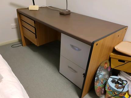 Household items - desk, lamp, filing cabinet, fish tank, cd, oven