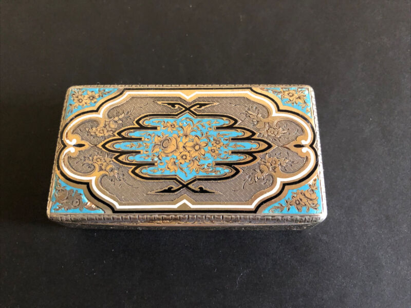 Antique French Silver With Enamel Case, Snuff Box , Circa 1880