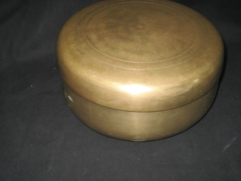 Vintage Solid Brass Bowl With Lid Heavy