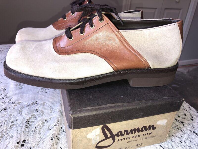 Vintage NOS NIB 70s Mens Jarman Tan Suede Rust Saddle Shoes 12 Tie D Retro