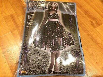 NEW Zombie Housewife Adult Women Costume Polka Dot Black Dress Forum Novelties
