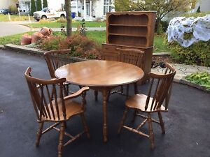 Solid maple wood dinning table set with a hutch