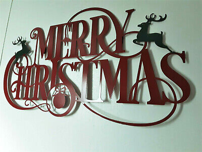"""Merry Christmas Holiday Wall Decor Large Hanging Metal Sign 29""""W x 15""""H"""