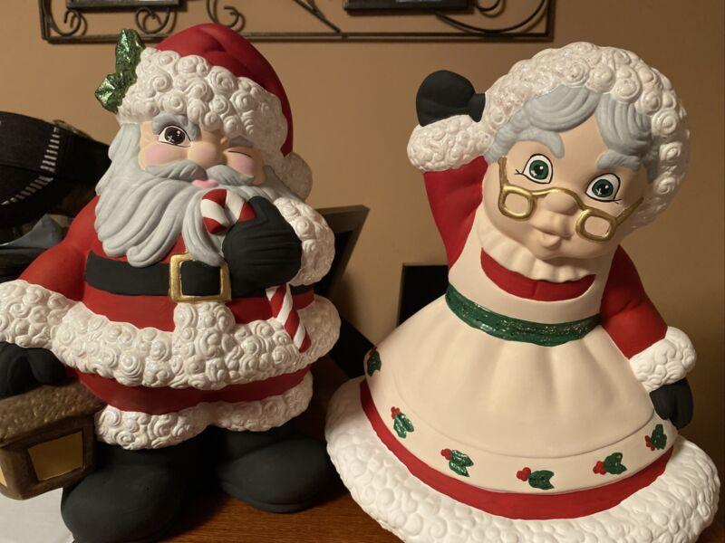 "13""T Ceramic Mr And Mrs Santa Handpainted"