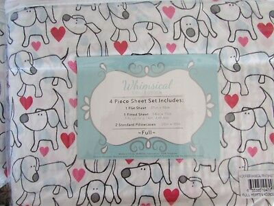 NEW FULL SIZE SHEET SET  DOUBLE SIZE SHEETS DOG PUPPY WITH HEART PRINT