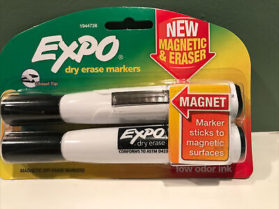 Expo 1944726 Magnetic Dry Erase Markers With Eraser Chisel Tip Black 2-count